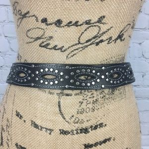 Accessories - Leather Studded Belt Size S M Black Silver Western